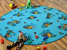 Kinder Spielteppich Bärenwelt Türkis Blau Gelb Rund in 7 Größen