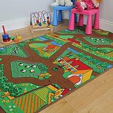 """Kinder-Spielteppich Bauernhof Tiere Traktor Matte Spielteppich Spaß 100cm x 165cm (3ft 3"""" x 5ft 5"""")"""