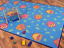 Kinder Spielteppich Eule Blau Türkis Grün 100x300cm - REDUZIERT