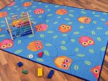 Kinder Spielteppich Eule Blau Türkis Grün in 24 Größen