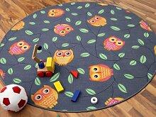 Kinder Spielteppich Eule Grau Anthrazit Orange Rund in 7 Größen