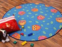 Kinder Spielteppich Eule Rund Blau Türkis Grün Eulen in 7 Größen