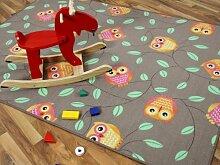 Kinder Spielteppich Eule Taupe Beige Karamell in