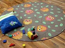 Kinder Spielteppich Eule Taupe Beige Karamell Rund in 7 Größen