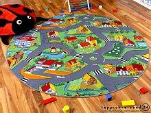 Kinder Spielteppich Little Village 160 cm Ø Rund