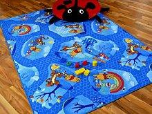 Kinder Spielteppich Winnie Puuh Blau in 24 Größen, Größe:80x160 cm