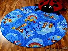 Kinder Spielteppich Winnie Puuh Blau Rund in 7 Größen, Größe:133 cm Rund