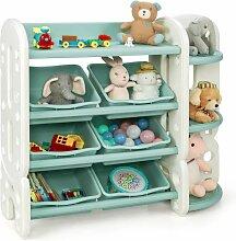 Kinder Spielzeugregal mit 6 Aufbewahrungsboxen und
