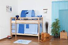 Kinder Stockbett - Buche Massivholz 90x200 cm,