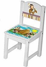 Kinder Stühle Tisch Kindersitzgruppe Kinderstühle massiv Holz Indianer bunt Größe 1 Stuhl