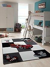 Kinder Teppich Auto Rennen Kinderzimmer Spielteppich Cars - schadstofffrei - Schwarz Weiss Rot - 120x170 cm
