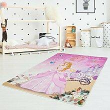 Kinder-Teppich Druckteppich Flachflor Polyester Waschbar Cinderella Prinzessin Kutsche Rosa Pink Mädchen Kinderzimmer 130x200 cm