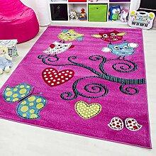 Kinder Teppich Figur Eule Spielteppich Jugendzimmer Carpet 0420 LILA Neu&OVP , Maße:160 cm x 230 cm, Farbe:Pink