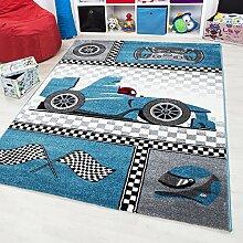 Kinder Teppich Figur WINDRACER Spielteppich Jugendzimmer Carpet 0460 BLAU, Maße:160 x 230 cm
