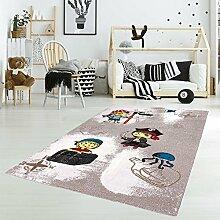 Kinder Teppich Flachflor Junior Piraten Rechteckig Rund Beige Creme Kinderzimmer Größe 133 cm rund