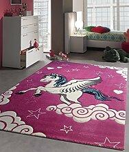 Kinder Teppich Fuchsia Einhorn Kinderzimmer Spielteppich Unicorn Pferd - 80x150 cm - schadstofffrei - Pink Rosa