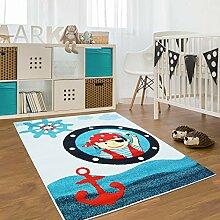 Kinder Teppich für das Kinderzimmer Öko Tex 100 2030 blau lustiger pirat 080x150 cm