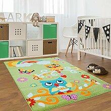 Kinder Teppich für das Kinderzimmer Öko Tex 100 2773 freundliche eulen auf dem ast mit regenbogen grün 160x225 cm
