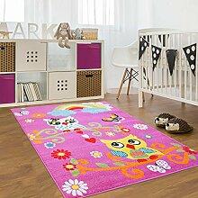Kinder Teppich für das Kinderzimmer Öko Tex 100 2773 freundliche eulen auf dem ast mit regenbogen rosa pink 080x150 cm