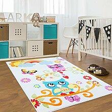 Kinder Teppich für das Kinderzimmer Öko Tex 100 2773 freundliche eulen auf dem ast mit regenbogen creme 160x225 cm