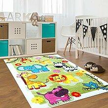 Kinder Teppich für das Kinderzimmer Öko Tex 100 5508 nette tiere grün 190x280 cm