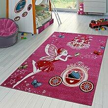 Kinder Teppich Für Mädchen Kinderzimmer Mit Prinzessin Zauberfee In Pink Fuchsia, Größe:160x220 cm