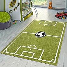 Kinder Teppich Fussball Spielen Kinderzimmerteppiche Fussballplatz in Grün Creme, Größe:80x150 cm