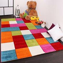 Kinder Teppich Karo Design Multicolour Grün Rot Grau Schwarz Creme Pink, Grösse:80x150 cm