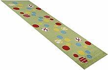 Kinder-Teppich Läufer Animaldots grün in 80x250 cm - Spiel-Teppich versandkostenfrei schadstoffgeprüft pflegeleicht antistatisch schmutzabweisend robust strapazierfähig Kinderzimmer Kids