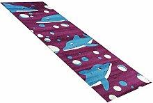 Kinder-Teppich Läufer Delfine lila in 80x250 cm - Spiel-Teppich versandkostenfrei schadstoffgeprüft pflegeleicht antistatisch schmutzabweisend robust strapazierfähig Kinderzimmer Kids