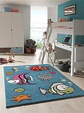 Kinder Teppich lustige Fische Kinderzimmer Spielteppich Aquarium - 160x230 cm - schadstofffrei - Blau Orange Grün