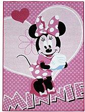 Kinder-Teppich Minnie Maus Herzen Teppich Kinder Spielteppich Pink
