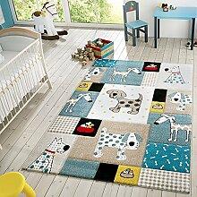 Kinder Teppich Moderner Spielteppich Hunde Karos Pastell Töne In Blau Beige, Größe:120x170 cm