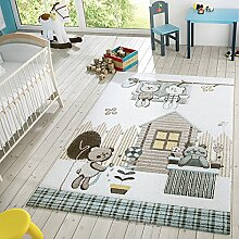 Kinder Teppich Moderner Spielteppich Teddy Welt Pastell Töne In Blau Creme, Größe:200x290 cm