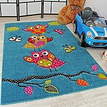 Kinder Teppich Niedliche Eulen Türkis Blau Orange Grün Pink, Grösse:133 cm Quadra