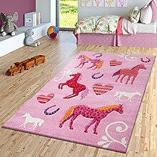Kinder Teppich Pferde Design Konturenschnitt Kinderzimmer Teppiche Pink Lila, Größe:140x200 cm