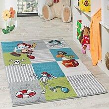 Kinder Teppich Pirat mit Papagei Schatzkiste Kinderzimmer Karo Grün Creme Türkis, Grösse:200x280 cm