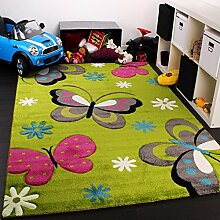 Kinder Teppich Schmetterling Design Grün Creme Rot Pink, Grösse:160x230 cm
