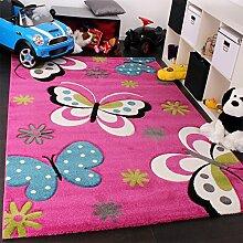 Kinder Teppich Schmetterling Design Grün Grau Schwarz Creme Pink, Grösse:80x150 cm