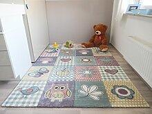 Kinder Teppich Schmetterling Eule Spielteppich Pastellfarben Grün Blau Gelb - schadstofffrei - 160x230 cm