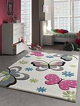 Kinder Teppich Schmetterling Kinderzimmer Spielteppich Tiermotive - 80x150 cm - schadstofffrei - Pink Grün Blau Creme