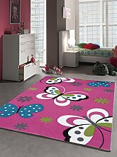 Kinder Teppich Schmetterling Kinderzimmer Spielteppich Tiermotive - 120x170 cm - schadstofffrei - Pink Rosa Creme