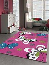 Kinder Teppich Schmetterling Kinderzimmer Spielteppich Tiermotive - 160x230 cm - schadstofffrei - Pink Rosa Creme