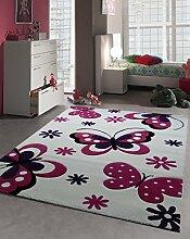 Kinder Teppich Schmetterling Kinderzimmer Spielteppich Tiermotive - 80x150 cm - schadstofffrei - Pink Lila Creme