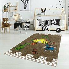 Kinder Teppich Spielteppich Flachflor Junior mit Ritter/Drachen/Ritterburg-Motiv in Braun für Kinderzimmer: Größe 133x190 cm