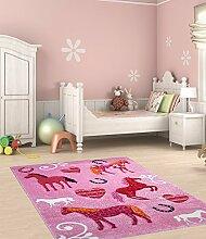 Kinder Teppich süße Pferde Kinderzimmer Spielteppich Tiermotive - 160x230 cm - schadstofffrei - Pink Rosa Weiss