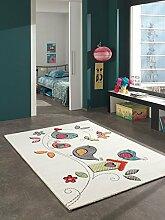 Kinder Teppich süße Vogel Kinderzimmer Spielteppich Tiermotive - 120x170 cm - schadstofffrei - Orange Grün Blau Creme