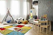 Kinder Teppich Tiere Kinderzimmer Spielteppich Kidzz TIGER multi-colour - schadstofffrei - Rot Gelb Grün - 160x230 cm