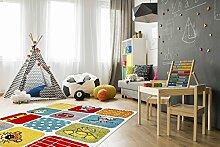 Kinder Teppich Tiere Kinderzimmer Spielteppich Kidzz ZOO multi-colour - schadstofffrei - Rot Grün Blau - 80x150 cm