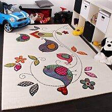 Kinder Teppich Vogel Design Creme Blau Orange Grün, Grösse:Ø 120 cm Rund